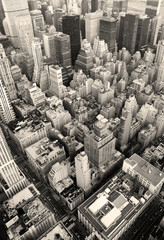 Fotomurales - New York City Manhattan skyline aerial view black and white