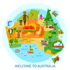 Australian national symbols and animals on a map: koala, kangaroo, kakadu, Uluru, Sydney Opera House, Bushmen, surfing. Flat vector illustration isolated set.