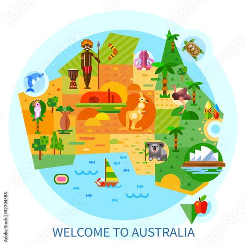 Australian National Symbols And Animals On A Map Koala Kangaroo