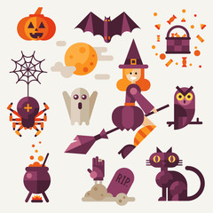 Light halloween set. Halloween attributes: pumpkin, bat, spider with web, owl, witch on a broom, black cat, grave, pot ,spooky ghost. Flat vector illustration set.