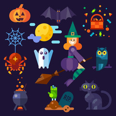 Dark halloween set. Halloween attributes: pumpkin, bat, spider with web, owl, witch on a broom, black cat, grave, pot ,spooky ghost. Flat vector illustration set.