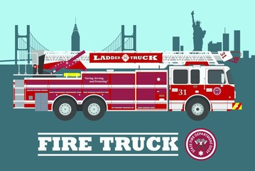 Fire truck on city background. Vector illustration.