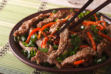 Korean bulgogi beef with carrot and onion closeup. horizontal