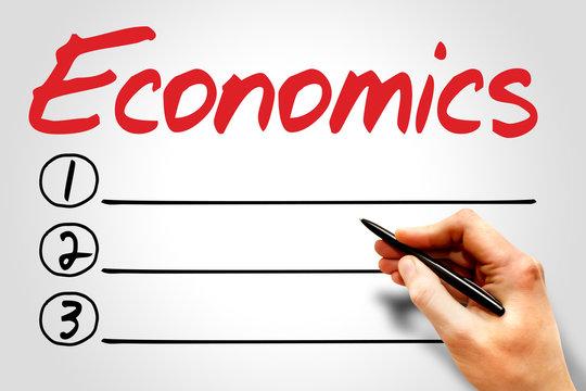 ECONOMICS blank list, business concept