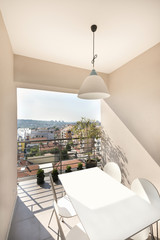 Terrace with a view in modern apartment