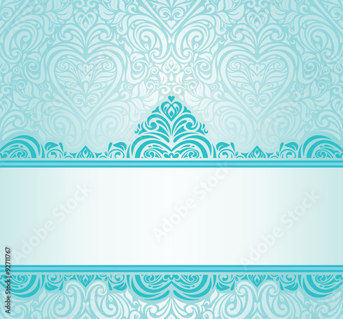 Wedding Vintage Turquoise Invitation Design With Blue Green Ornaments