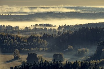 Foggy countryside view. Landscape just before the sunrise in the morning.