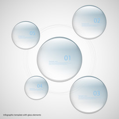 Five glass rings template with blue color