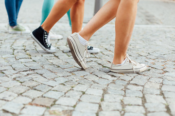 Girls walking on the street