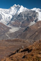 Fototapete - View of Langtang Valley with Mt. Kimshung and Langtang Lirung Glacier in the Background, Langtang, Bagmati, Nepal