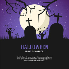Halloween Vector Illustration with Grave, Zombies and the Moon
