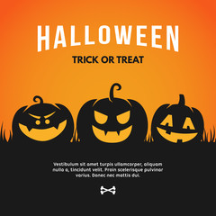 Halloween Vector Illustration with Pumpkin and Text Halloween - Trick or Treat