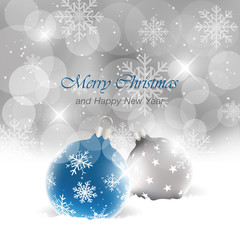 Christmas background with balls, light, stars, snowfall and snowflakes. Happy New Year vector illustration.