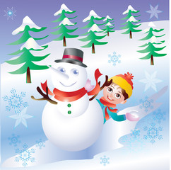 snowman and snow boarding with winter background