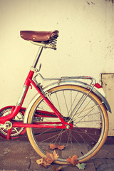 Old retro bicycle. Vintage style.
