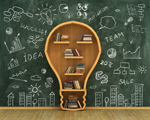 Concept of idea. Bookshelf full of books in form of bulb with co