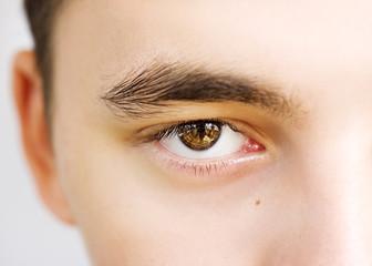 insightful look brown eyes boy