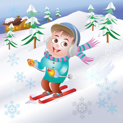 illustration of boy skiing with winter background