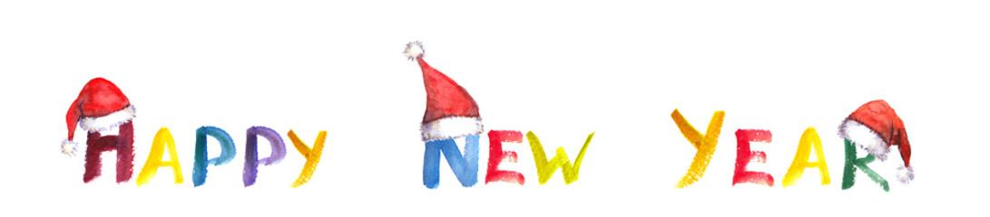 Handwritten Happy New Year with santa hats