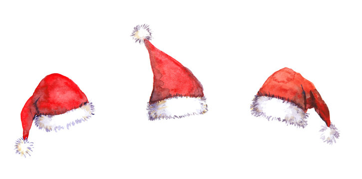 Christmas Santa red hats, watercolor
