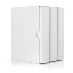 blank book in cardboard box cover isolated on white