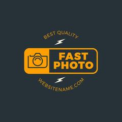 Photography Logo Design Template. Retro Vector Badge. Fast Photo Studio