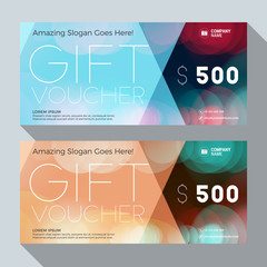 Gift Voucher Vector Design Print Template. Discount Card. Gift Certificate. 2 Color Themes. Vector Illustration