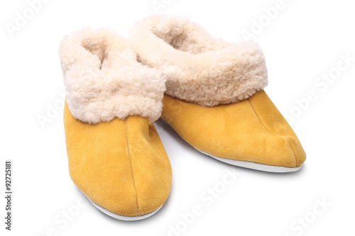 9d067193662 Handcrafted leather slippers with wool lining