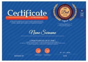 Blue Certificate, Vector certificate template.
