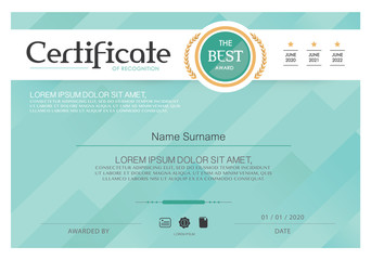 Blue Certificate, Vector certificate template,Modern style.