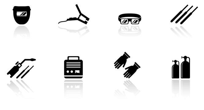 set of welding equipment icons