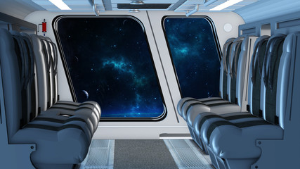 Kabine in einem Weltraumflugzeug