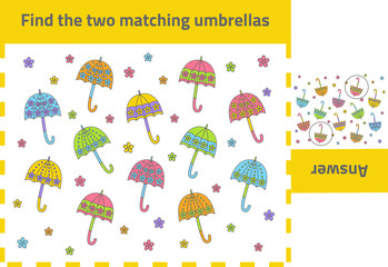 Activity game for preschool kids: Find the two matching objects