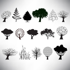 choice of 16 vector trees in a variety of styles
