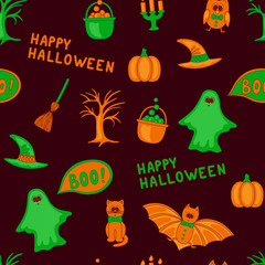 Vector Happy Halloween seamless pattern