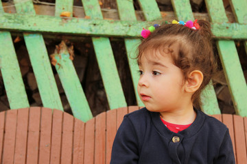 Profile of little girl with sad face looking away