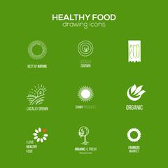 Healthy food logo set at green background