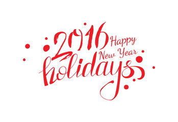 Vector red colored New year holidays greetings calligraphy