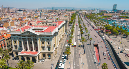 Barcelona panorama cityscape, city streets traffic aerial view