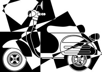 Scooter pop art en noir et en blanc