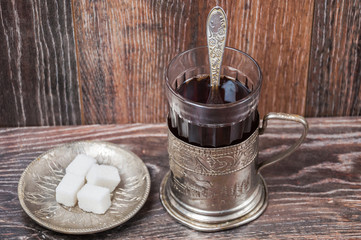 Tea in vintage glass with glass-holder