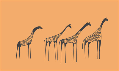 petroglyph herd of giraffes