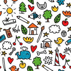 Seamless pattern with cute little doodle drawings isolated on white
