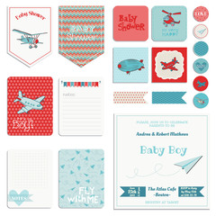 Baby Shower Boy Set - Tags, Banners, Labels, Cards - in vector