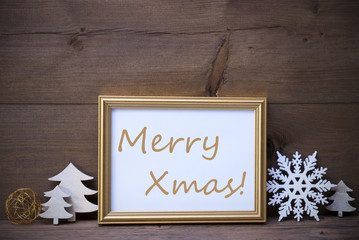 Picture Frame With White Christmas Decoration, Merry Xmas