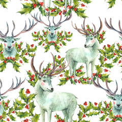 Watercolor Christmas seamless pattern with Snow white deer and H