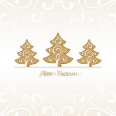 Christmas Background with golden Christmas Trees
