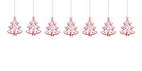 Red Christmas Trees hanging isolated