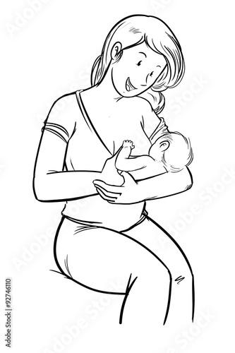 Dibujo a linea mujer dando el pecho sentada a su bebe for Recien nacido dibujo