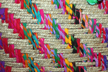 Closeup of a Colorful Woven Basket